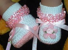 Boutique Crochet Mary Janes Baby Booties, Kneat Heaven Boutique