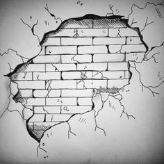 Brick wall drawing | Boos temple | Pinterest | Dibujo ...