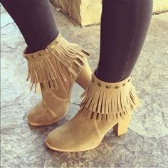 "⭐️⭐️Best in Shoes HP  ⭐️⭐️Fringe Booties🎉🎉 The perfect  boot! A few sizes left! Taupe colored double layer Fringed tassle with side zipper. 3.25"" chinky heel. Brand new in the box. 🚫 trades ❤️ bundles Mi.imi Shoes Ankle Boots & Booties"