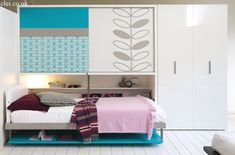 Study bed | Clei wall beds London · Poppi board wall bed with office desk and wardrobe.