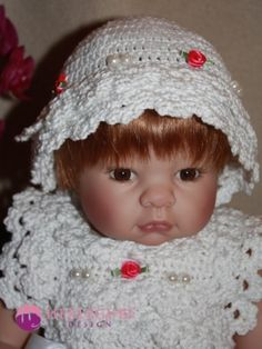 Ida kjolesett til dukker og baby. (PDF-hekleoppskrift) - Hekleguri Design Crochet Hats, Design, Knitting Hats