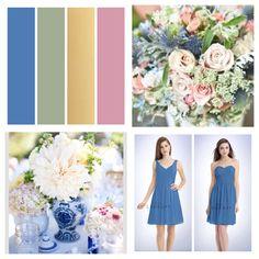 My wedding color scheme! - cornflower blue, sage, gold, rose