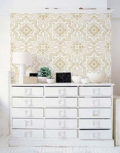 I'm doing the upper half of my bathroom in this. Wish me luck!     Allover Wall Stencil | Lisboa Tile Stencil | Royal Design Studio