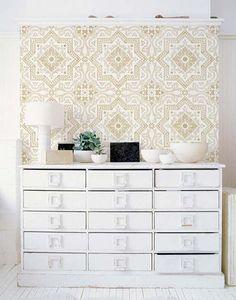 white & pattern wall