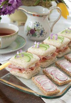 """Ham, Pineapple, and Cucumber Tea Sandwiches"" from 'Tea Time Magazine' see recipe please visit. Tea Time Magazine, Do It Yourself Food, Cucumber Sandwiches, Afternoon Tea Parties, Afternoon Tea Tables, Afternoon Tea Recipes, Snacks Für Party, Tea Time Snacks, Tapas"