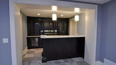 Basement: Small Basement Black Wood Bar Cabinets Marble Countertop With Two Bar Chandeliers And Ceramic Floor of Basement Bar Ideas Designs Basement Bar For Sale, Rustic Basement Bar, Basement Bar Plans, Basement Bar Designs, Modern Basement, Home Bar Designs, Basement Remodeling, Basement Ideas, Basement Bars