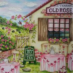 Romantic country by Eriy #prismacolor #colourpencils #tearoom #romanticcountrycoloringbook #adultcoloringbook