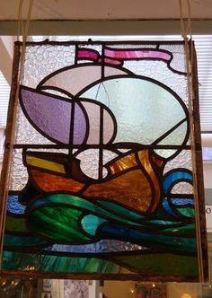 Lead glass panel from one of the Glasgow glass studios
