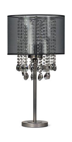 Juliana Table Lamp | HOM Furniture Grey Lamp Shades, Sheer Shades, Glam Lamps, Studded Headboard, Fixer Upper House, Silver Lamp, Grey Interior Design, Grey Table Lamps, Shimmer Lights