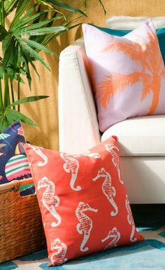 #beach themed pillows #ocean #seahorse #coral #palm