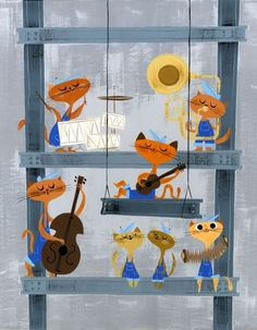 amanda visell illustration cat band musicians