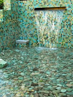 Glass Mosaic Tile Flooring - Backyard Garden Pond.  I dream of an outdoor shower, & a pool in the back yard :)