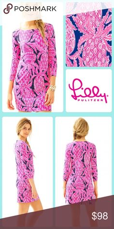 "NWT Lilly Pulitzer Sophie Dress with UPF 50+ SOPHIE DRESS IN BRIGHT NAVY    You're a religious user of SPF - and so you're always looking for the newest innovation on sun protection. The Sophie dress protects your body from the sun, while keeping you looking GREAT. Pretty sure that's called a win win... UPF 50+ Protection Because We Love The Sun. UPF = Ultraviolet Protection Factor (Please Wear Your Favorite SPF Lotion As Well!).  Gold button detail at shoulder 19"" from natural waist  93%…"