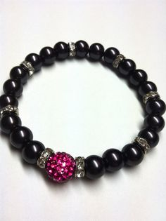 Hot Pink 10mm Pave Bead Bracelet with Black Pearls by TheVillageSmithy, $18.00