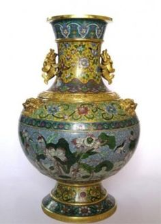 Qing Chinese Gilded Cloisonne Dragon-Ears Vase : Lot 466