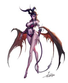 demon girl- render by on DeviantArt Fantasy Girl, Fantasy Art Women, Fantasy Monster, Fantasy Kunst, Dark Fantasy Art, Fantasy Artwork, Sucubus Anime, Anime Art, Fantasy Character Design