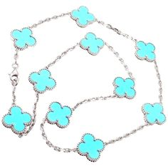 Van Cleef & Arpels Vintage Alhambra Turquoise White Gold Necklace | See more rare vintage Choker Necklaces at https://www.1stdibs.com/jewelry/necklaces/choker-necklaces