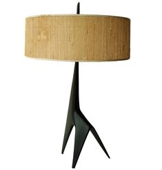 Giraffe Shaped bronze lamp with grasscloth shade, france 1960