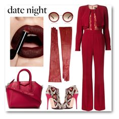 """""""Date Night Jumpsuit"""" by hellodollface ❤ liked on Polyvore featuring Elie Saab, Ann Demeulemeester, Alexander McQueen, Givenchy, DateNight and jumpsuit"""