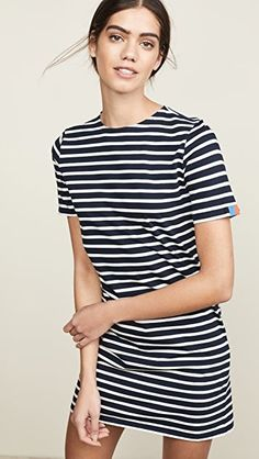 Baby Girls Dress Round Neck Ruffed Short Sleeve Dress Striped Print Loose Skirts