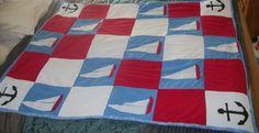 Sailboat applique baby quilt- look what my friend @Connie Hamon Hamon Brzowski Greene made!