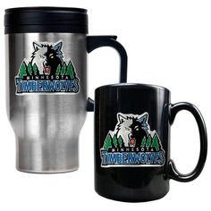 NBA Minnesota Timberwolves Stainless Steel Travel Mug  Black Ceramic Mug Set  Primary Logo * Read more  at the image link.
