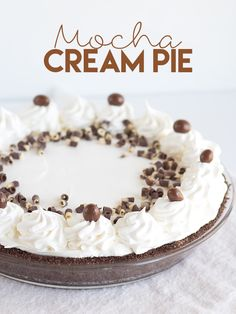 Mocha Cream Pie -   a chocolate coffee pudding with a whipped cream topping and finished with espresso beans and chocolate curls