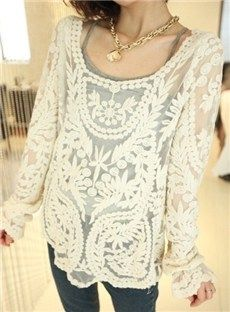 Simply Hollow Long Sleeves Lace Blouse