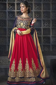 Blue, Red Georgette, Velvet Floor Touch Anarkali Suit