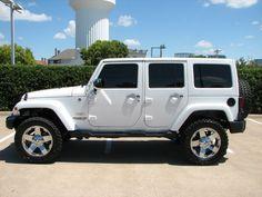 Jeep Wrangler Unlimited Sahara with Chrome Wrangler Unlimited Sahara, Jeep Wrangler Sahara, Jeep Sahara, All White Jeep Wrangler, Jeep Rubicon, Jeep Jk, Jeep Truck, Jeep Wrangler Accessories, Jeep Accessories