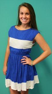Gameday Stripe Dress - Blue