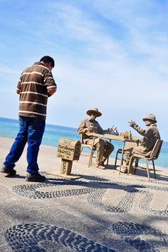 Sand Sculpture of Chess Players in Puerto Vallarta, Mexico