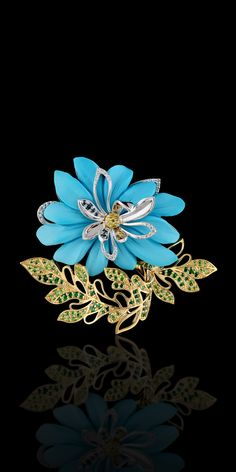 Brooch   14K yellow and white gold, turquoise 24,1 ct, diamonds, yellow diamonds, blue diamonds, demantoid, tsavority.