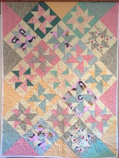 Made by Cindy Luttrell -- Spinning Pinwheel (Deb Tucker pattern) girl baby quilt