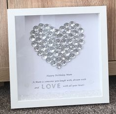 DIY Mothers Day Gift Ideas for 2020 that'll let her know how much she means to you Box Frame Art, Box Frames, Diy Mothers Day Gifts, Gifts For Mum, Button Art, Button Crafts, Craft Gifts, Diy Gifts, Personalised Wedding Presents