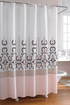 tahari tile medallion pale pink grey white fabric shower curtain la belle maison pinterest. Black Bedroom Furniture Sets. Home Design Ideas