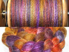 Yummy Yarns UK hand painted extra fine BFL/Tussah Silk, spun on my Majacraft Rose.
