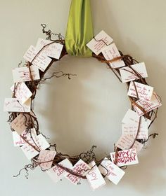 "gratitude wreath. love this idea! kind of like a gratitude journal, and it is out and visible. And yes like Jane says, ""It's prayer flag-ish."""