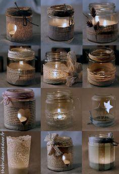 A glass jar, 12 possibilities! Candleholders diy #Barn Wedding