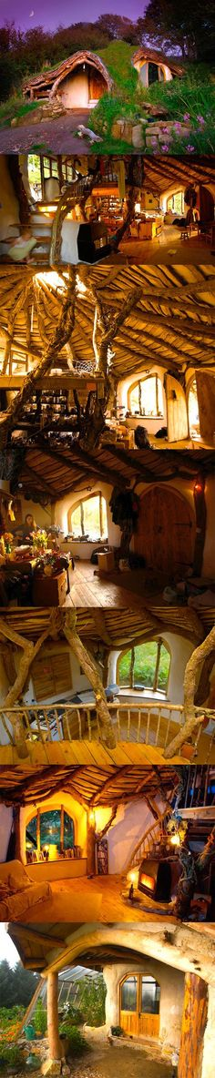 hobbit style home, complete with sod roof ~ low impact woodland home, excellent south-facing passive solar greenhouse and earth sheltering thermal mass.  perfectly charming!!!