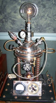 Atomic Lamp made from a Farnsworth fusor vacuum chamber/ one of a kind/ J Dooley