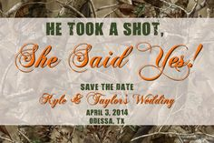 Orange or Pink  Hunting Camo Save the Date  by lanispartydesigns, $15.00