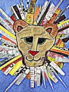 Leeuw afgewerkt met stroken krantenpapier.