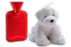 Hot-Water-Bottle-Removable-Plush-Dog-Cover-Peter-Pan-0-75-Liter-warm-hugs-red
