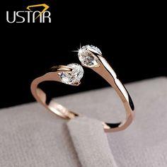 Marke CZ Diamant-schmuck Hochzeit Ringe für frauen öffnen Rose gold überzogene kristall-ringe weibliche anel bijoux geschenke top qualität