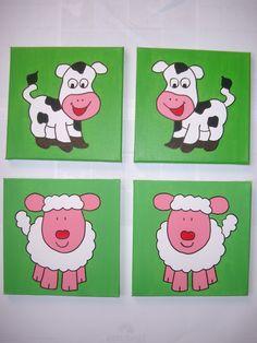 Grappige, vrolijke schilderijtjes voor op de baby- en kinderkamer van MMKADO. Met acrylverf geschilderd op canvasdoek. Incl. haakje om op te hangen. Ze zijn ook los te bestellen zodat je een eigen collage kunt maken. Mocht je een bepaald schilderij in andere kleuren willen, geen probleem. Ook de naam en/of geboortedatum erop is mogelijk. Neem gerust contact op voor de mogelijkheden.
