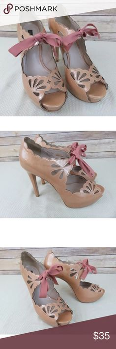 "Joan & David Dacicilee pearl peach eyelet pumps Joan & David pearlescent peach eyelet ribbon high heels - size 9 There are a couple of scuffs on the outers - please see photos and full description Pearl peach color with rose pink ribbon ties  5"" heels Joan & David Shoes Heels"