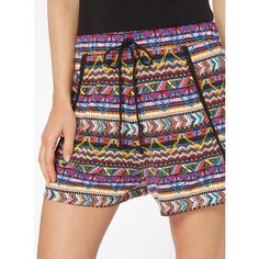 Multicoloured Aztec Print Shorts (235 MXN) ❤ liked on Polyvore featuring shorts, colorful shorts, aztec print shorts, multi colored shorts and aztec shorts