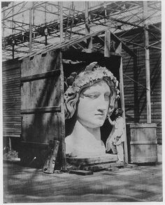 Gould, don't you think this would be a good replacement of Shakespeare's bust? (The Colossal Head of Bavaria in the Nave of the Crystal Palace by Philip Henry Delamotte, Fine Art Prints, Framed Prints, Canvas Prints, Statues, Palaces, Exhibition Display, Crystal Palace, Bavaria, Sculpture Art