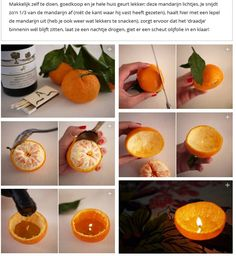 make your own candle out of a tangerine and some olive oil